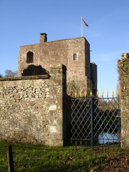 Bickleigh Castle gatehouse and moat seen from the south side