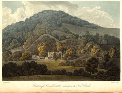 Aquatint showing distant view of Bickleigh Court Castle