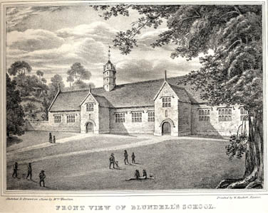 Front view of the original Blundell's School, 1831