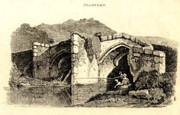 1812 engraving of Chagford Bridge by Samuel Prout