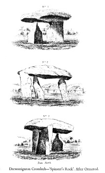 camera lucida sketches of Spinster's Rock by G W Ormerod