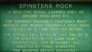 plaque describing Spinster's Rock