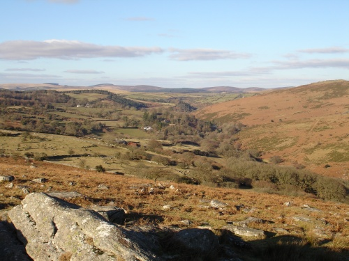 The Dart Valley seen from Combestone Tor