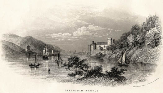 engraving of Dartmouth Castle by Henry Besley, 1860
