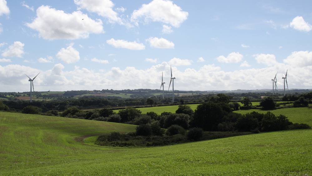 The six eastern-most turbines at Den Brook Valley wind farm
