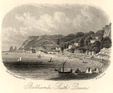 A print of an 1864 engraving of Babbicombe