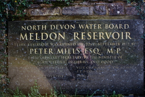 Plaque commemorating the opening of Meldon Reservoir in 1972