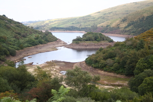 South end of Meldon reservoir showing the island nature reserve