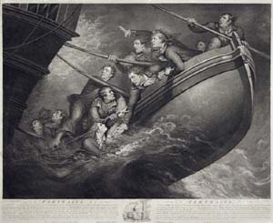 print of Captain Inglefield and eleven men saved at sea