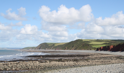 Looking north-east from Peppercombe shingle beach