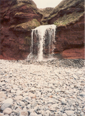 waterfall on Peppercombe beach