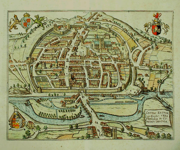 Hooker's map of Exeter in 1563