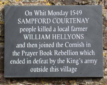Plaque in Sampford Courtenay commemorating the Prayer Book Rebellion